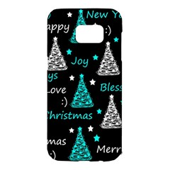 New Year pattern - cyan Samsung Galaxy S7 Edge Hardshell Case