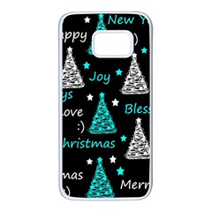 New Year pattern - cyan Samsung Galaxy S7 White Seamless Case