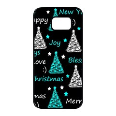 New Year pattern - cyan Samsung Galaxy S7 edge Black Seamless Case