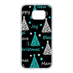 New Year pattern - cyan Samsung Galaxy S7 edge White Seamless Case