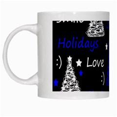 New Year pattern - blue White Mugs