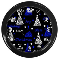 New Year pattern - blue Wall Clocks (Black)