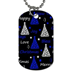 New Year pattern - blue Dog Tag (Two Sides)