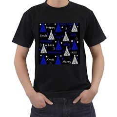 New Year pattern - blue Men s T-Shirt (Black) (Two Sided)