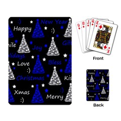 New Year pattern - blue Playing Card