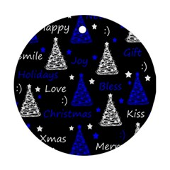 New Year pattern - blue Round Ornament (Two Sides)