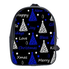 New Year pattern - blue School Bags(Large)