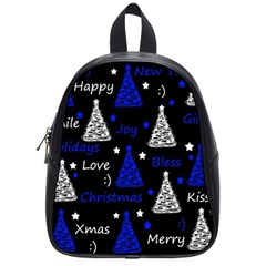 New Year pattern - blue School Bags (Small)