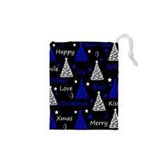 New Year pattern - blue Drawstring Pouches (XS)