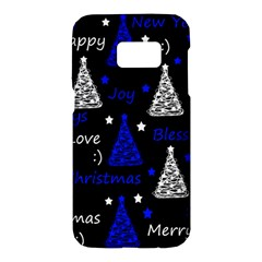 New Year pattern - blue Samsung Galaxy S7 Hardshell Case