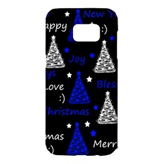 New Year pattern - blue Samsung Galaxy S7 Edge Hardshell Case