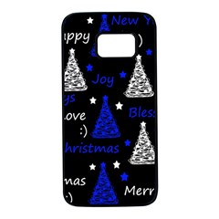 New Year pattern - blue Samsung Galaxy S7 Black Seamless Case