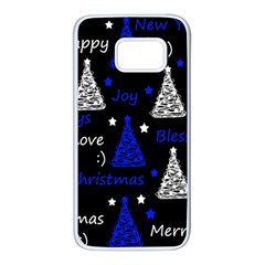 New Year Pattern   Blue Samsung Galaxy S7 White Seamless Case