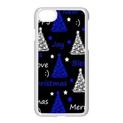 New Year Pattern   Blue Apple Iphone 7 Seamless Case (white)