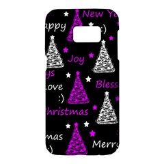 New Year pattern - purple Samsung Galaxy S7 Hardshell Case