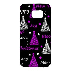 New Year pattern - purple Samsung Galaxy S7 Edge Hardshell Case