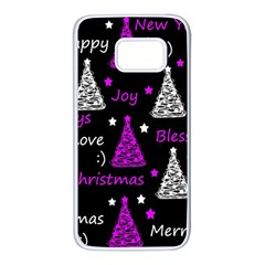 New Year pattern - purple Samsung Galaxy S7 White Seamless Case