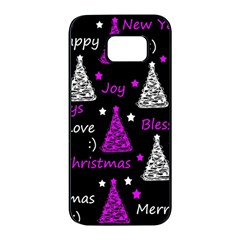 New Year pattern - purple Samsung Galaxy S7 edge Black Seamless Case