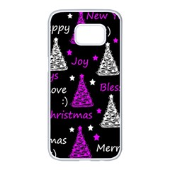New Year pattern - purple Samsung Galaxy S7 edge White Seamless Case