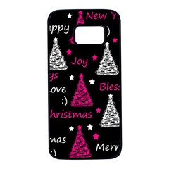 New Year pattern - magenta Samsung Galaxy S7 Black Seamless Case