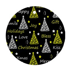New Year pattern - yellow Ornament (Round)