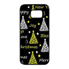 New Year pattern - yellow Samsung Galaxy S7 edge Black Seamless Case
