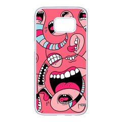 Big Mouth Worm Samsung Galaxy S7 Edge White Seamless Case