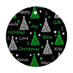 New Year pattern - green Ornament (Round)