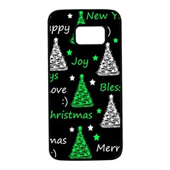 New Year Pattern   Green Samsung Galaxy S7 Black Seamless Case