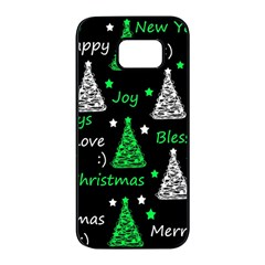 New Year pattern - green Samsung Galaxy S7 edge Black Seamless Case