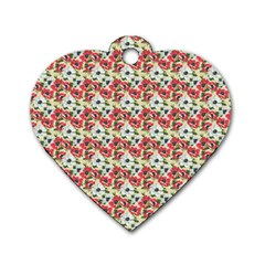 Gorgeous Red Flower Pattern  Dog Tag Heart (Two Sides)