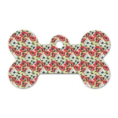 Gorgeous Red Flower Pattern  Dog Tag Bone (One Side)