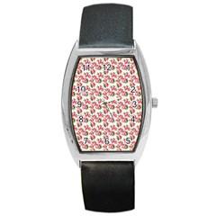 Gorgeous Pink Flower Pattern Barrel Style Metal Watch