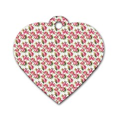 Gorgeous Pink Flower Pattern Dog Tag Heart (Two Sides)