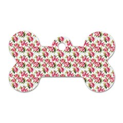 Gorgeous Pink Flower Pattern Dog Tag Bone (one Side)