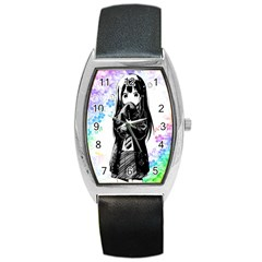 Shy Anime Girl Barrel Style Metal Watch
