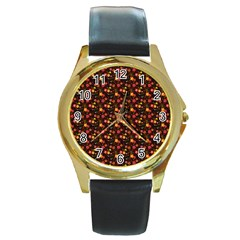 Exotic Colorful Flower Pattern  Round Gold Metal Watch
