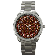 Exotic Colorful Flower Pattern  Sport Metal Watch
