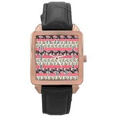 Cute Flower Pattern Rose Gold Leather Watch