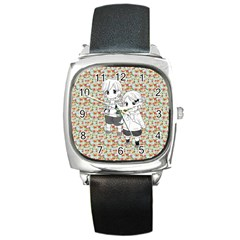 Cute Kids  Square Metal Watch