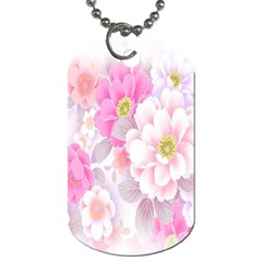 Cute Pink Flower Pattern  Dog Tag (One Side)