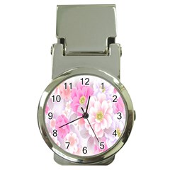 Cute Pink Flower Pattern  Money Clip Watches