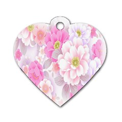 Cute Pink Flower Pattern  Dog Tag Heart (Two Sides)