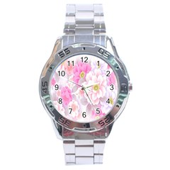 Cute Pink Flower Pattern  Stainless Steel Analogue Watch