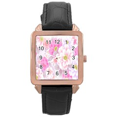 Cute Pink Flower Pattern  Rose Gold Leather Watch