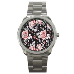 Vintage Flower  Sport Metal Watch