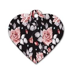 Vintage Flower  Dog Tag Heart (One Side)