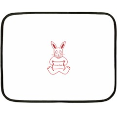 Cute Rabbit With I M So Cute Text Banner Double Sided Fleece Blanket (mini)