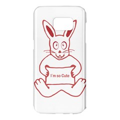 Cute Rabbit With I M So Cute Text Banner Samsung Galaxy S7 Edge Hardshell Case