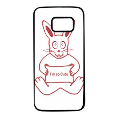 Cute Rabbit With I M So Cute Text Banner Samsung Galaxy S7 Black Seamless Case